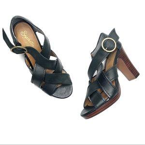 Seychelles Black Strappy Criss Cross Stacked Heel